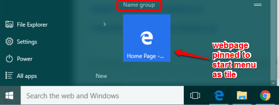 webpage added to start menu as tile