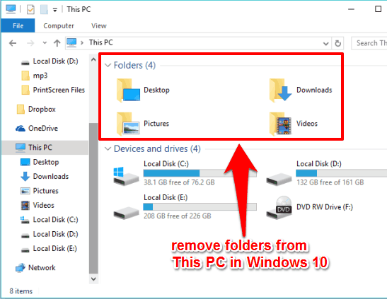 Documents and Music folder removed from This PC in Windows 10