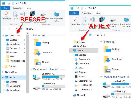 File Explorer of Windows 10 before and after removing Quick Access