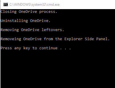 OneDrive Uninstaller tool process