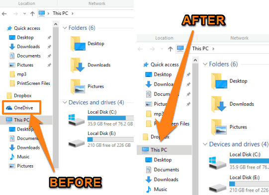 OneDrive removed from Windows 10 File Explorer