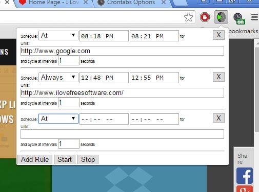 URL open scheduler extensions chrome 2