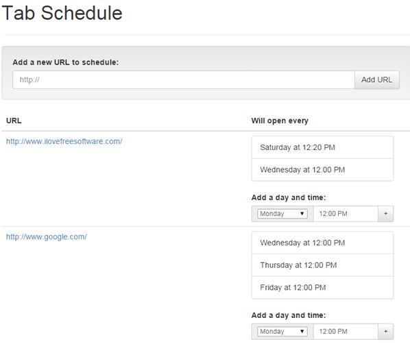URL open scheduler extensions chrome 3