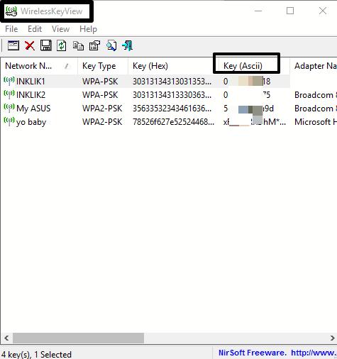WirelessKeyView software- interface