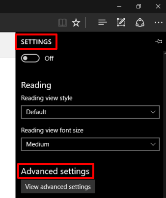 access Advanced Settings in Microsoft Edge