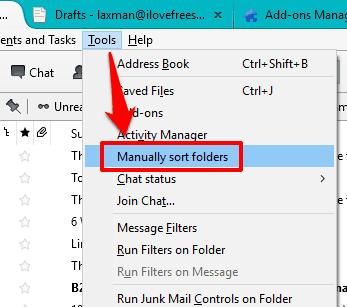 access Manually sort folders option