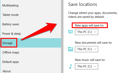 access Save locations section