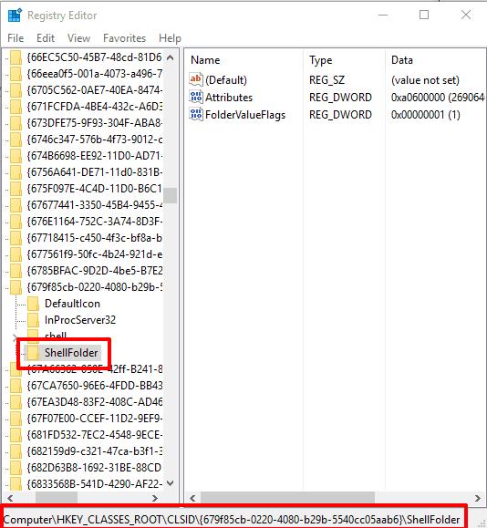 access ShellFolder in Registry Editor