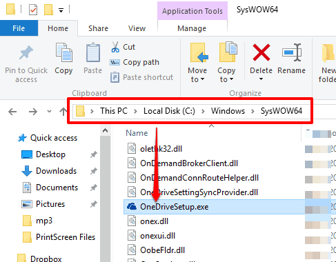 access SysWOW64 to find OneDriveSetup