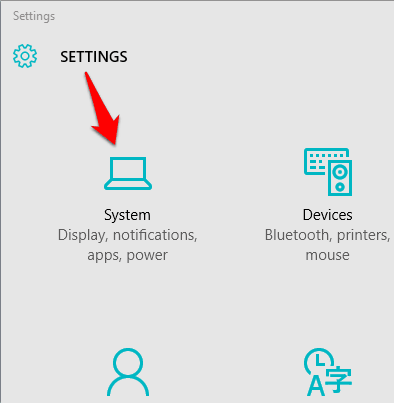 access System from Settings window