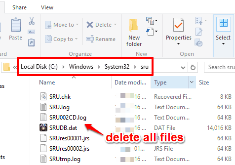 access sru folder and delete all files