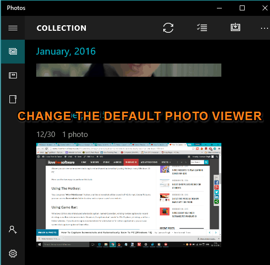 change the default photo viewer in Windows 10