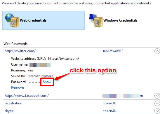 click Show option
