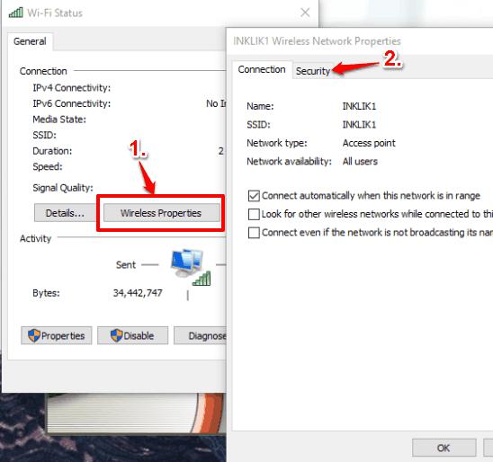 click Wireless Properties button