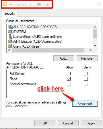 click advanced button