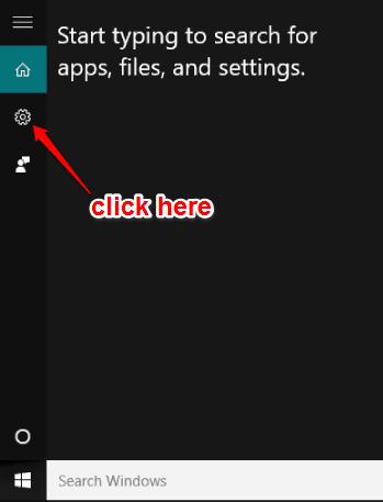 click settings icon