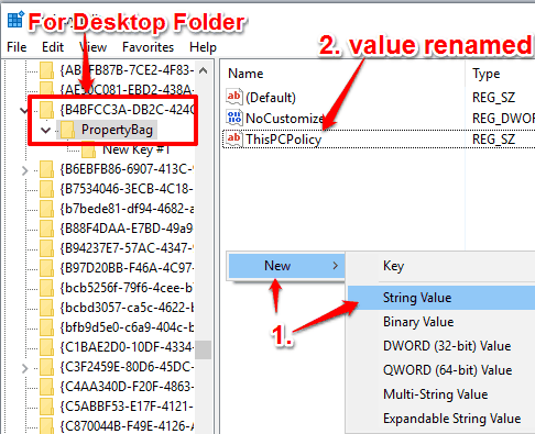 create ThisPCPolicy string value for Desktop folder