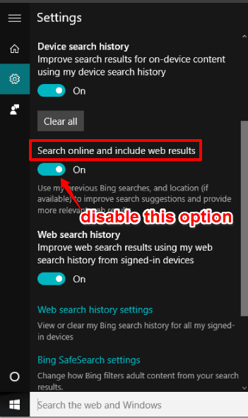 disable Search online and include web results option