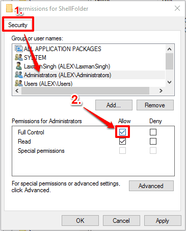 enable Full Control permission for Administrators and save changes