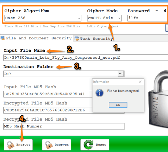 encrypt a file or document