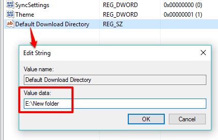 enter path of new download location in Value data