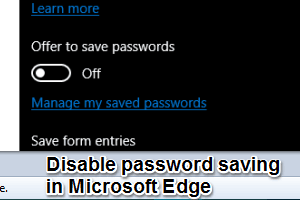how to disable password saving in Edge