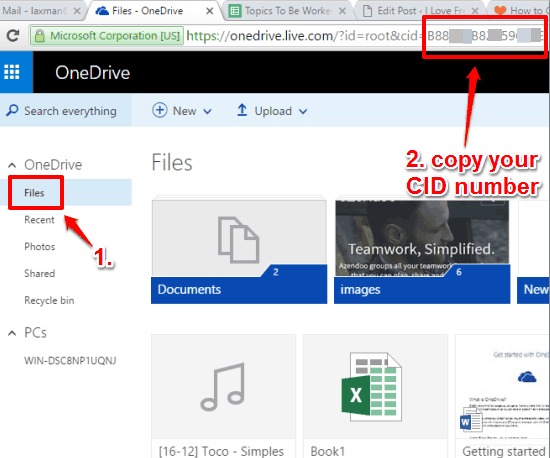 open your OneDrive account and copy CID number