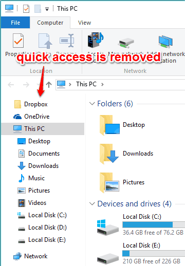 quick access removed