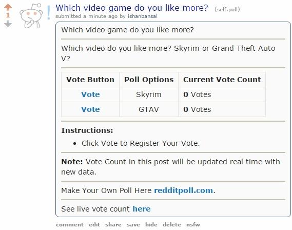 embed a poll on Reddit