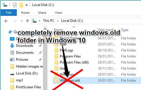remove Windows.old folder in Windows 10