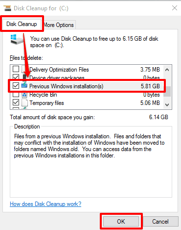 select Previous Windows installation(s) to delete
