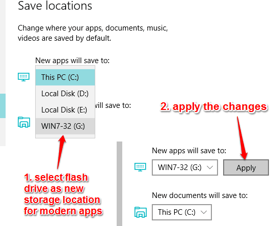 select flash drive as storage location and apply changes