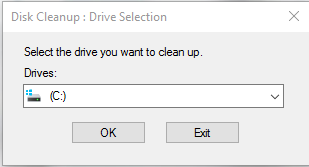 select the Drive using Disk Cleanup tool