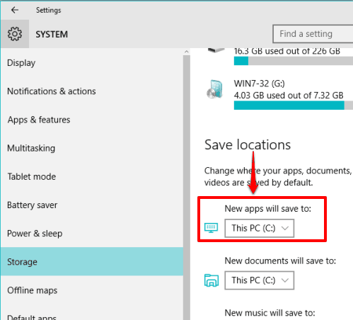 set default storage location as flash drive to install new apps