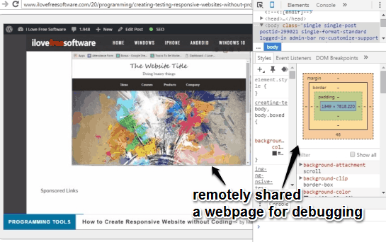shared a webpage remotely using DevTools Remote
