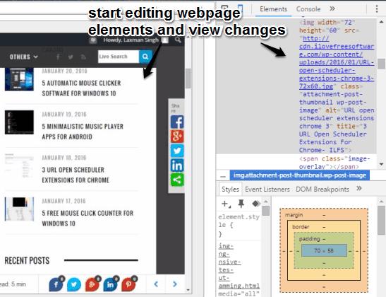 start editing webpage elements