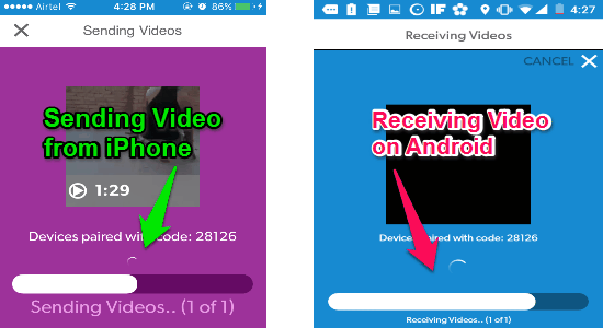 transfer videos between android and iphone