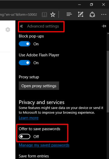 turn off password saving option