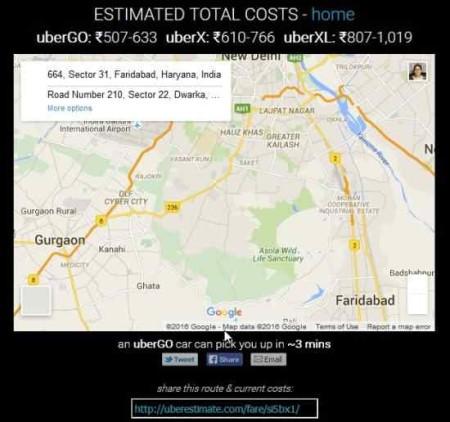 uber estimate result