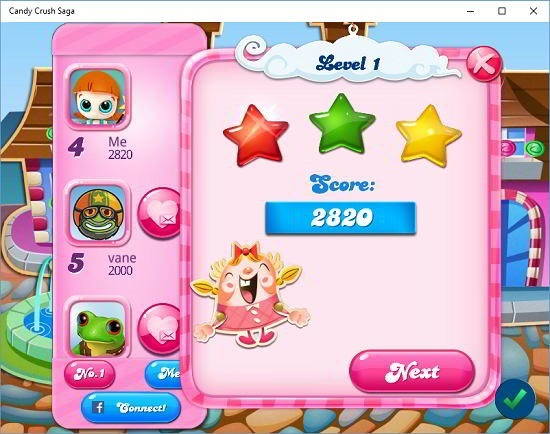 Candy Crush Saga level completed