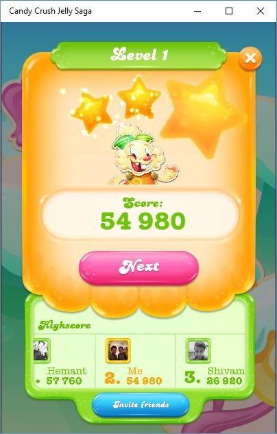 Candy Crush jelly saga score
