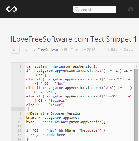 Create New Code Snippet in Codepad
