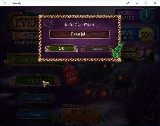 Eventide main screen enter name