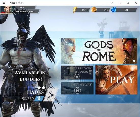 Gods of Rome main menu