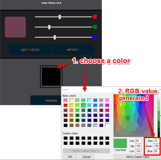 HEX and RGB Color Chrome extension pop up and color palette