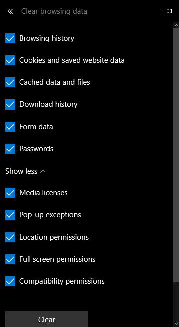 Microsoft Edge cache clear