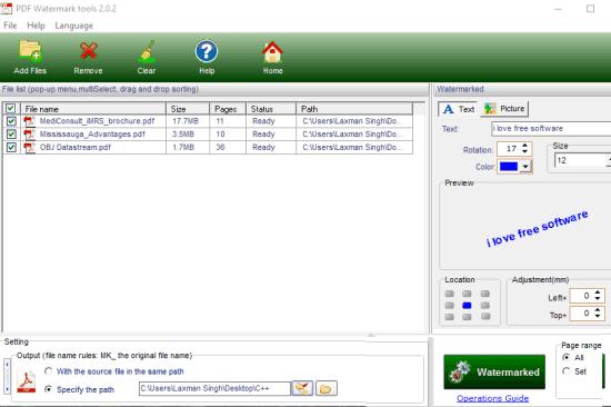 PDF Watermark tools- interface