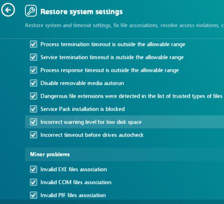 RESTORE SYSTEM SETTINGS
