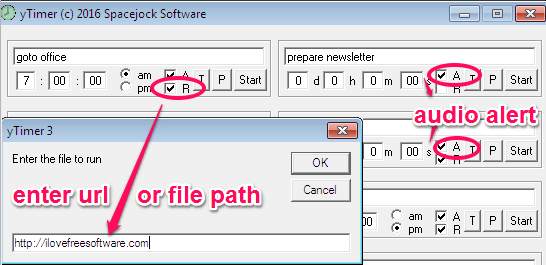 Set Audio Alarm and specify to open a file or Url