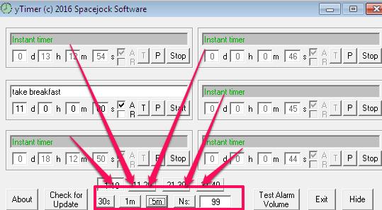 Set instant timer for short intervals